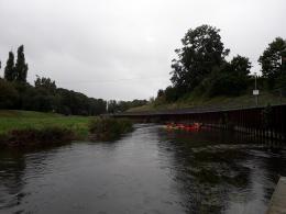 Spływ: początek trasy Bartoszyce - Sępopol w deszczu